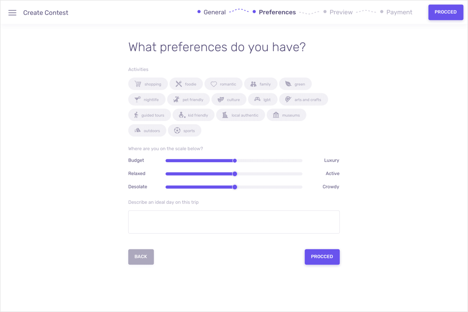 Selecting preferences on Wanderist